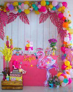first birthday photo girl Flamingo Birthday, Luau Birthday, Flamingo Party, Garden Birthday, Birthday Parties, Diy Party Decorations, Birthday Decorations, Party Themes, Aloha Party
