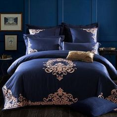 Embroidered Egyptian Cotton Bedding Sets Queen King Size flat Bedsheet – T A Y Online Store Cotton Bedding Sets, Queen Bedding Sets, Luxury Bedding Sets, Duvet Cover Sets, Comforter Sets, Comforter Cover, Cotton Duvet, Blue Bedding Sets, King Comforter