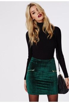 Velvet Zip Detail Mini Skirt Dark Green