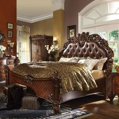 Give your bedroom a luxurious look with the Acme Furniture Vendome Panel Bed . This panel bed features an ornate design with molding trim and exquisite. Acme Furniture, Bedroom Furniture, Bedroom Decor, Furniture Ideas, California King Bedding, Leather Bed, Sleigh Beds, Upholstered Platform Bed, Tufted Bed