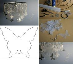 Luminária d chapa d RX (colocada de molho na candida) recortada em formato d borboletas