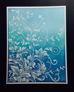 Love this one. A blue 'hero arts leafy vine stamp' card