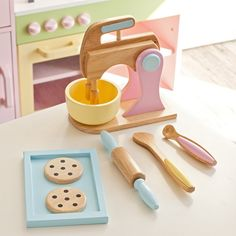 Must have's for any play kitchen. A lot of Melissa & Doug items KidKraft 4 Pack Bundle of Accessories - Play Kitchen Accessories at Hayneedle Toy Kitchen, Wooden Kitchen, Kidkraft Kitchen, Kitchen Dishes, Kitchen Utensils, Play Kitchen Accessories, Accessoires Barbie, Making Wooden Toys, Pack And Play