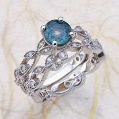 14k White Gold Vintage Diamond Engagement RingAnd Band Center is 6.5mm Teal Natural Sapphire