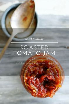 Sweet + savory with a kick of spice, with roasted ripe tomatoes and caramelized onions, this Roasted Tomato Jam is a tasty topping to serve with juicy grilled beer bratwurst from Pair with Yuengling Traditional Lager and let summer officially begin. Jam Recipes, Canning Recipes, Side Dish Recipes, Appetizer Recipes, Appetizers, Chutney Recipes, Chutneys, Tomato Jam, Tomato Chutney