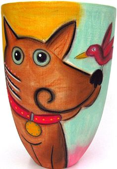 Dog 8 Inch Vase by Double Creek Pottery   Sticks Furniture, Home Decorative Accents