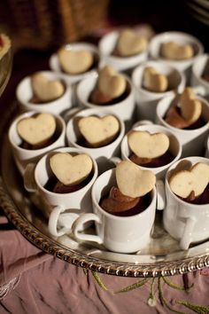 Individual chocolate mousse with shortbread hearts