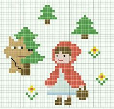 little red riding hood cross stitch pattern [ cappuccetto rosso punto croce ] Cross Stitch For Kids, Mini Cross Stitch, Cross Stitch Animals, Cross Stitch Charts, Cross Stitch Patterns, Diy Embroidery, Cross Stitch Embroidery, Embroidery Patterns, Stitch Cartoon