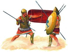 Latin soldier and Tarentine levy, c. 280 BC. the Latins were solid allies of the Romans and contributed thousands of warriors to the Roman war machine. Here the warriors clash in Southern Italy during the Pyrrhic war.
