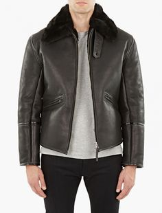 Our Legacy,Black Leather Flight Jacket with Shearling Collar,BLACK,1