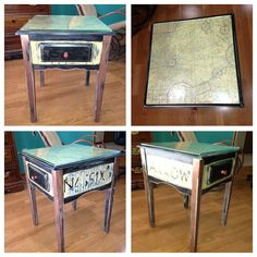 New side table I painted.. Airplane theme . The top is an actual VFR map... I stressed it to make it look aged.