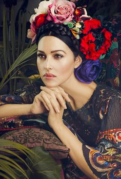 Monica Bellucci inspired by Frida Kahlo Monica Bellucci Photo, Monica Belluci, Girls With Flowers, Flowers In Hair, Frida Kahlo Portraits, Portrait Photography, Fashion Photography, Makeup Photography, She's A Lady