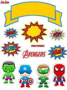 Superhero Cake Toppers, Superhero Party, Batman Party, Diy Cake Topper, Cupcake Toppers, Chibi, Fourth Of July Crafts For Kids, Happy Birthday Printable, Avenger Cake