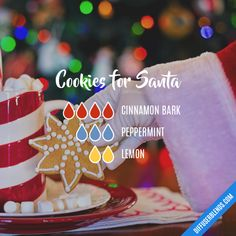Cookies for Santa - Young Living Essential Oil Diffuser Blend --- Tried with 3 drops CB, 2 drops P, and 2 (accidental.) drops L - Smells yummy! Citrus Essential Oil, Essential Oil Scents, Essential Oil Diffuser Blends, Essential Oil Uses, Doterra Essential Oils, Young Living Essential Oils, Essential Oils Christmas, Essential Oil Combinations, Diffuser Recipes
