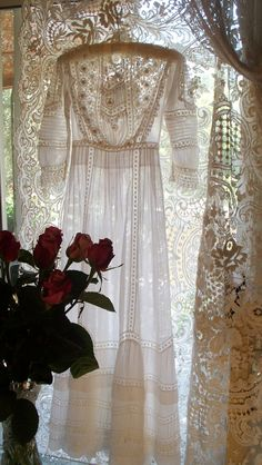 Circa 1899 Victorian Heirloom Batiste Wedding Dress with Irish Lace & Pin Tucks