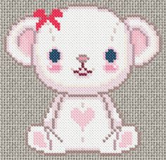 Cross stitch valentines bear pattern