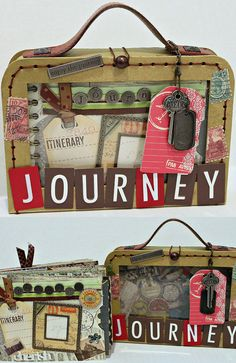 JOURNEY Travel Vacation Scrapbook Album with Suitcase Holder Case Box