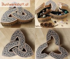 Download this printable pattern and make your own celtic box. This unique triquetra shaped box with a celtic knot design is perfect for storing little stuff