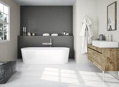 "Splash Black + Sand Dollar 4""x20"" wall tile House Tiles, Wall Tiles, Natural Stone Backsplash, Black Feature Wall, Black Accent Walls, Bathtub Remodel, Tub Surround, Tile Projects, White Countertops"