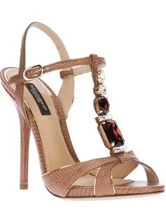 Dolce & Gabbana Jewel Embellished Sandal in Brown - Lyst Pretty Shoes, Beautiful Shoes, Cute Shoes, Me Too Shoes, High Heels Stilettos, Shoes Heels, Jeweled Sandals, Embellished Sandals, Dream Shoes