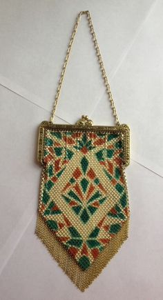 Vtg 1920's Art Deco Mandalian Manufacturing Co. Enameled Metal Mesh Bag Purse