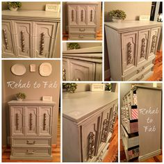 Mediterranean Dresser from the rehabbed by Rehab to Fab. Mediterranean Dressers, 1960s Furniture, Stained Dresser, Paint Stain, Chest Of Drawers, Painted Furniture, Repurposed, Decorating, Painting