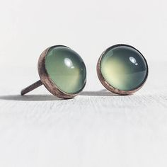 Green chalcedony studs with brushed copper settings minimalist earrings