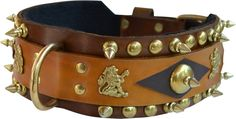 Brown/Tan Leather Dog Collar With Lg. Spots/Spikes with Solid brass lions/Brass hardware with matching braided leash sold as set only Best Apartment Dogs, Matching Couple Outfits, Tan Leather, Braided Leather, Leather Dog Collars, Black Felt, Brass Hardware, Solid Brass, Spikes