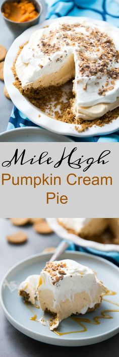 This pumpkin cream pie is no ordinary Thanksgiving pie!    It is light and fluffy with the creamiest pumpkin filling. via @Lemonsforlulu