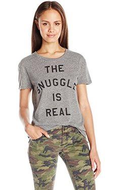 Goodie Two Sleeves Juniors the Snuggle IS Real Graphic Tee, Grey, Medium ❤ Goodie Two Sleeves Apparel