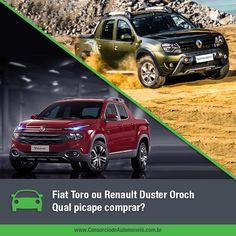 Duas picapes são a nova sensação do mercado nacional. São elas: a nova Fiat Toro e a Renault Duster Oroch. Qual delas vocês compraria?  Acesse nossa matéria e saiba um pouco mais sobre esses dois modelos de sucesso: https://www.consorciodeautomoveis.com.br/noticias/fiat-toro-ou-renault-duster-oroch-qual-picape-comprar?idcampanha=206&utm_source=Pinterest&utm_medium=Perfil&utm_campaign=redessociais