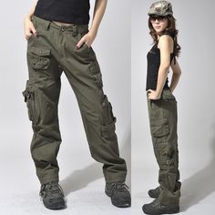 women's army cargo outdoor hiking straight mid waist sports casual overalls lovers baggy camouflage camo pants women what i picture Cinder's pants would look like!