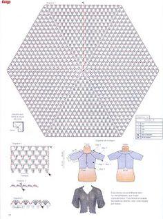 Nana Crochet : Casaquinho de crochê hexagono