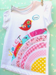 Custom Name Personalised Birdie Over The Rainbow Tshirt Girls Sizes 1 - 5. $28.00, via Etsy.