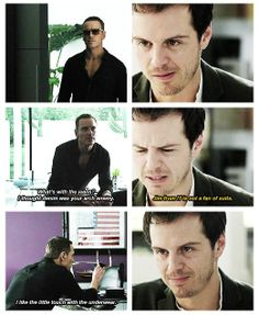 Still more evidence that Michael Fassbender HAS TO play Sebastian Moran on Sherlock. This would be hilarious and awesome! Benedict Sherlock, Sherlock Fandom, Sherlock John, Benedict Cumberbatch, Sebastian Moran, James Moriarty, Mycroft Holmes, Fandoms, Andrew Scott