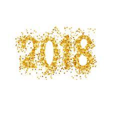 Happy New Year 2018 wenskaart met gouden nummers. Vectorillustratie. Merry Christmas Flyer ontwerp, Brochure Cover, vectorkunst illustratie