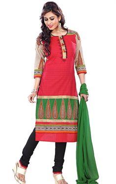 Decorous Crimson Ready Made Salwar Kameez