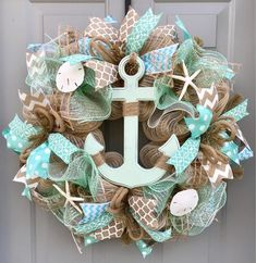 Beach Wreath, Anchor Nautical Burlap Deco Mesh Wreath, Nautical Wreath You are in the right place about DIY Wreath pool noodle Here we offer you the most beautiful pictures about t Coastal Wreath, Nautical Wreath, Seashell Wreath, Seashell Crafts, Beach Crafts, Beach Wreaths, Nautical Anchor, Deco Mesh Wreaths, Ribbon Wreaths