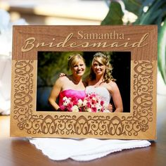 Engraved Bridal Party #Bridesmaids Wood Picture Frames. Your bridesmaids help to make your wedding day unforgettable and perfect. Thank them with an engraved picture frame that shows off some of your favorite memories that you have with each girl in your bridal party. Your girls can keep this as a keepsake and reminder of their special role in your big day. Capture the wonderful memories of your wedding day and showcase them in this beautifully engraved wooden picture frame.