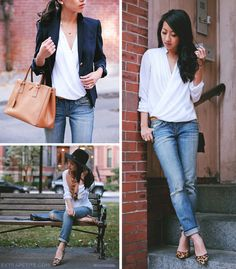 Top left: H&M faux wrap blouse, J.Crew Schoolboy blazer, Prada bag Bottom left: H&M hat