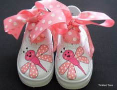 Love Bug Canvas Lace Up Hand Painted Children's by tickledtoes, $36.00