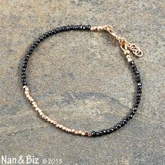 Delicate black spinel and rose gold bracelet, Karen Hill Tribe silver, vermeil, stackable bracelet, conflict-free black diamond substitute, minimalist, by Nan & Biz