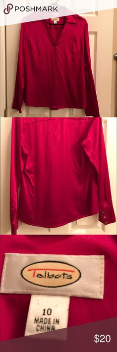 Talbots Long Sleeved Silk Blouse Magenta Worn maybe 2 times. Like new condition. Silk and stretch. Super comfy and elegant. Magenta long sleeves blouse Talbots Tops Blouses