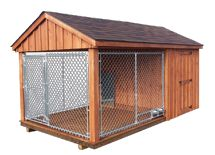 Pet Structures with Quality & Value :: Dog Kennels | Several styles shown. |  I would alter the design to include a bathroom area on grass. Adding heat and air would be MY goal when mine needs to be out! ;)