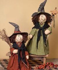 Primitive Halloween Decorations - Witches, Scarecrows and Pumpkins