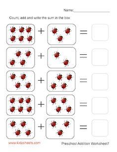 Preschool Addition (Sheet7) Math Addition Worksheets, English Worksheets For Kids, Kindergarten Math Worksheets, Nursery Worksheets, Printable Preschool Worksheets, Preschool Activity Books, Preschool Math, Maternelle Grande Section, Math Sheets