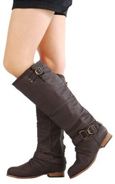 Tosca01a Zipper Back Knee High Flat Riding Boots BROWN Wild Diva f23ab8179dc