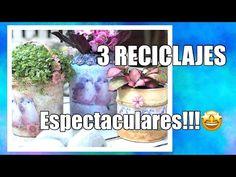 3 Macetas Espectaculares, Reciclando Envases - YouTube Recycling Containers, Mason Jars, Youtube, Abstract, Ideas Decoración, Glass, Crafts, Painting, Jars