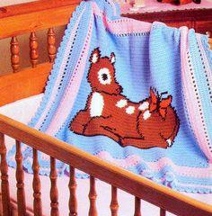 Vintage Crochet Pattern PDF Baby Deer Afghan Baby Pram Cover
