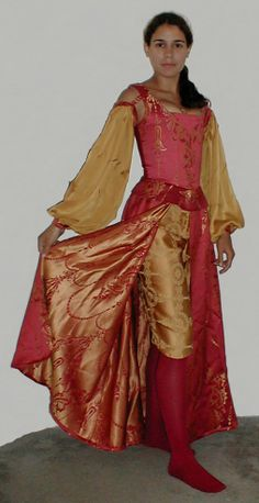 Venetian courtesan Faire garb as inspired by Dangerous Beauty. Skirt and breeches would work for fighting.  Skirt would need to be stiffened - possibly with hoops? - to hold it out so it's not something I trip over.